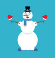 snowman happy and merry emoji new year and vector image