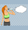 sport girl jogging pop art text bubble comic book vector image vector image