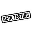 square grunge black beta testing stamp vector image vector image