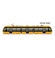 the modern city tram is yellow side view eco vector image