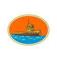 tugboat tug towboat woodcut vector image