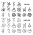 types of funny microbes monochrom icons in set vector image vector image
