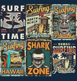 vintage colorful surfing posters set vector image vector image