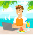 working at the beach vector image