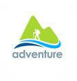 mountain hiking travel adventure logo vector image