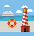 ligthouse beach lifebuoy ship ocean vector image