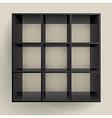 3d isolated empty black bookshelf vector image