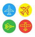 Aircraft or Airplane Flat Minimal Icons Set vector image vector image
