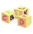 Alphabet cubes toy icon cartoon style vector image vector image