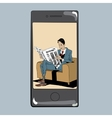 App for reading press man newspaper vector image vector image