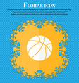 Basketball icon Floral flat design on a blue vector image