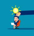 big hand give light bulb business cartoon vector image vector image