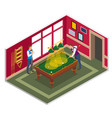 billiards game isometric composition vector image vector image