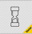 black line old hourglass with flowing sand icon vector image vector image
