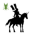 black silhouette elven knight with banner vector image vector image