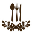 brown cuterry with leaves decoration icon vector image vector image