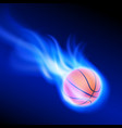 burning basketball on blue fire vector image vector image
