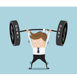 businessman lifting heavy weight debt vector image vector image
