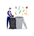 cartoon man recycling and sorting trash standing vector image