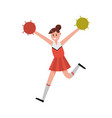 cheerleading girl dancing with pompoms to support vector image vector image