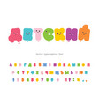 children s catroon cyrillic font funny colorful vector image vector image