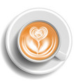 coffee art cup top view hot cappuccino vector image
