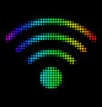 colored pixel wi-fi source icon vector image vector image