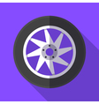 Colorful wheel and tyre icon in modern flat style vector image vector image