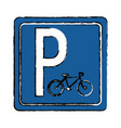 drawing bycicle road sign parking vector image