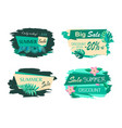 exotic leaves on sticker best discount summer sale vector image