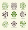 floral logo botanical stylized elements vector image vector image