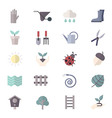 Garden Icons and Tools Icons Set Of Colorful Flat vector image vector image