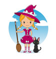 girl dressed up as a witch vector image