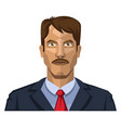 guy with mustaches and brown hair on white vector image vector image