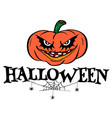 halloween text design with pumpkin and spider web vector image vector image