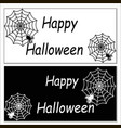 happy halloween cards with a web with spiders vector image