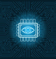 human eye icon on chip over blue circuit vector image