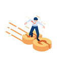isometric businessman surfing on 5g vector image vector image