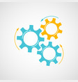 mechanical cog and gear graphic in blue and orange vector image vector image