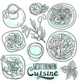 medditerranean cuisine- food on white background vector image vector image