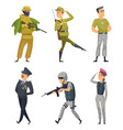 military characters army soldiers male and female vector image