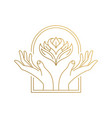 outline emblem hands with flower in window hand vector image vector image