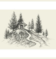 relaxing place hand drawing a retreat in nature vector image vector image