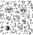 seamless doodle pattern hand drawn cartoon vector image vector image