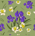 seamless pattern of narcissus and iris vector image vector image