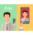 Selfy on Smartphone Young Man Taking Self vector image vector image