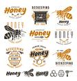 set honey labels badges and design elements vector image