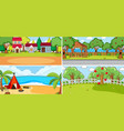 set of different nature scenes cartoon style vector image vector image