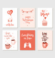 set of simple hand drawn valentines cards vector image