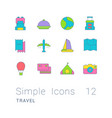 set simple line icons travel vector image vector image